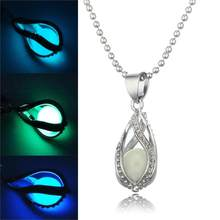 Steampunk Glow In the Dark Necklace Silver Color with Luminous Stone Locket Pendant Choker Mermaid Necklace Jewelry for Unisex(China)
