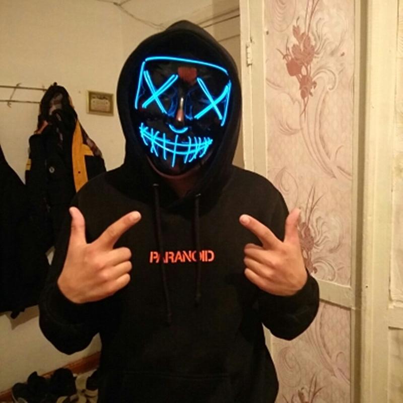 Decoração de halloween máscara led light up festa máscara de néon cosplay horror v para vendetta festa de halloween decoração adereços acessórios
