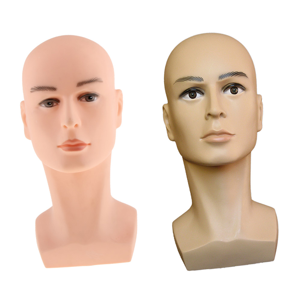 Lot de 2 pièces Mannequin Homme Tête de Perruque Postiche Casquettes Lunettes Affichage Tête Visage Peinture Stand Modèle