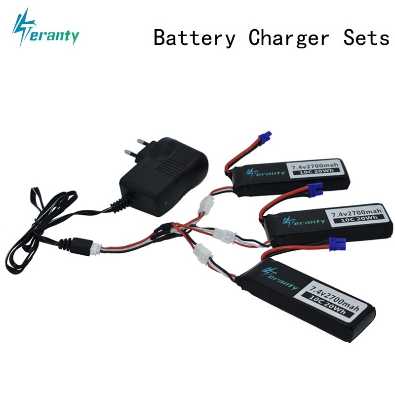 7.4V 2700mAh 10C For Hubson H501W H501S H501C lipo battery + Cable + 7.4v Charger For RC Qaudcopter Drone Parts with EC2 Plug storage cable
