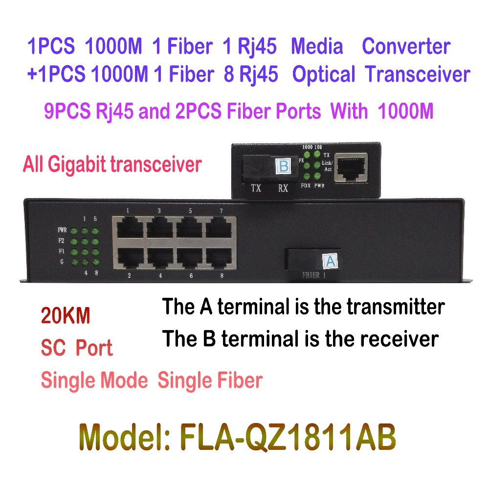 Fiber Optical Media Converter 1000M Single-mode SC 20KM 1pcs 1CH Fiber 1ch RJ45  + 1pcs 1CH Fiber 8ch RJ45 Optical Transceiver new single fiber single mode optical transceiver 10 100m 1000mbps sc port 20km 2ch fiber 8ch rj45 fiber optical media converter