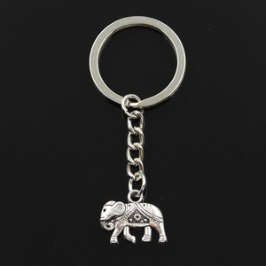 New Fashion Keychain 16x20mm Thailand Mounts Elephant Pendants DIY Men Jewelry Car Key Chain Ring Holder Souvenir For Gift(China)