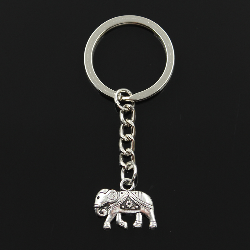 New Fashion Keychain 16x20mm Thailand Mounts Elephant Pendants DIY Men Jewelry Car Key Chain Ring Holder Souvenir For Gift