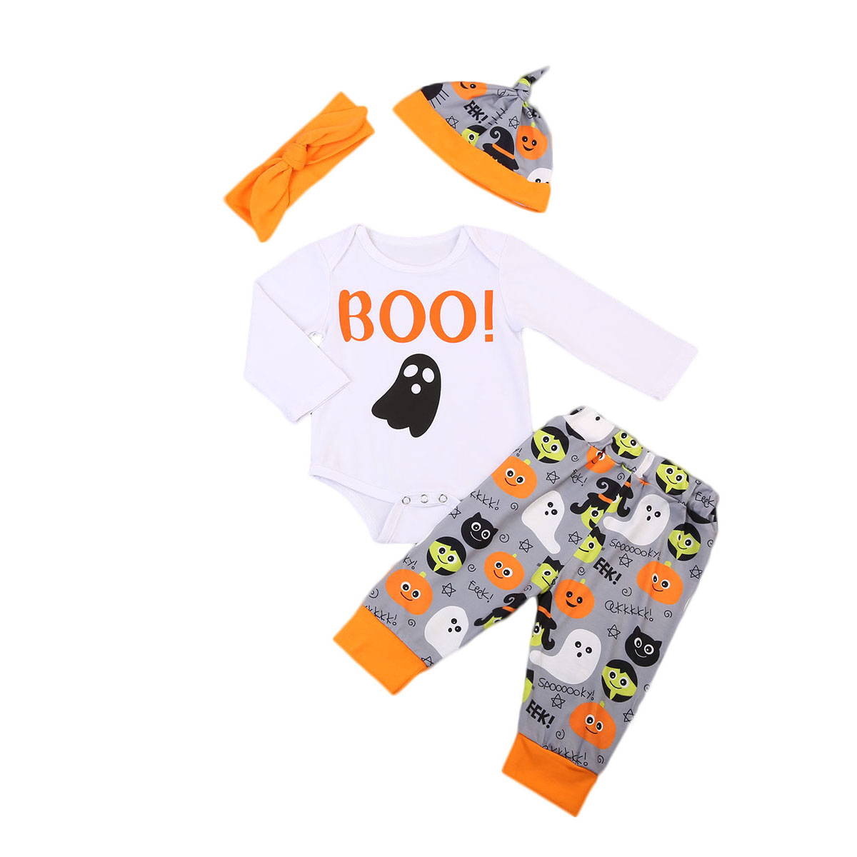 4PCS Set Infant Baby Boys Girls Romper Pants Leggings Hat Outfits 2017 New Toddler Halloween Cotton Clothes Two Piece Set