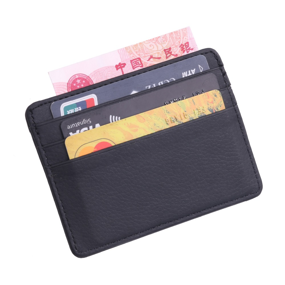 TRASSORY Men Women Durable Slim Simple Travel Lichee Leather Bank Business ID Card Wallet Holder Case with Coin Purse image