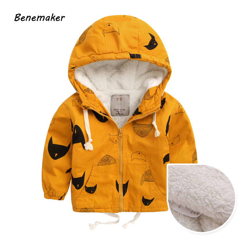 Benemaker Winter Fleece Jackets For Boy Trench Children's Clothing 2-10Y Hooded Warm Outerwear Windbreaker Baby Kids Coats JH019(China)