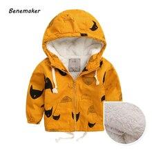 Benemaker/Зимние флисовые куртки для мальчиков; Тренч; детская одежда; От 2 до 10 лет теплая верхняя одежда с капюшоном; ветровка; пальто для маленьких детей; JH019