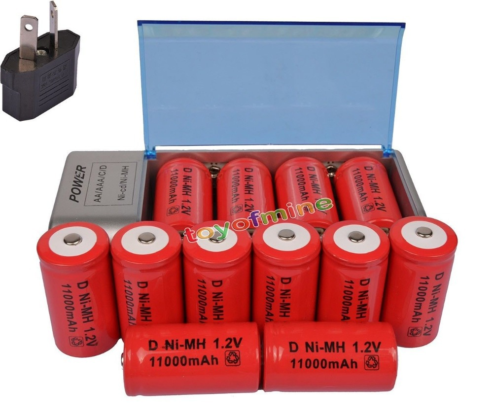 12x D taille 11000 mAh batterie Rechargeable ni-mh + C/D AA taille chargeur universel prise
