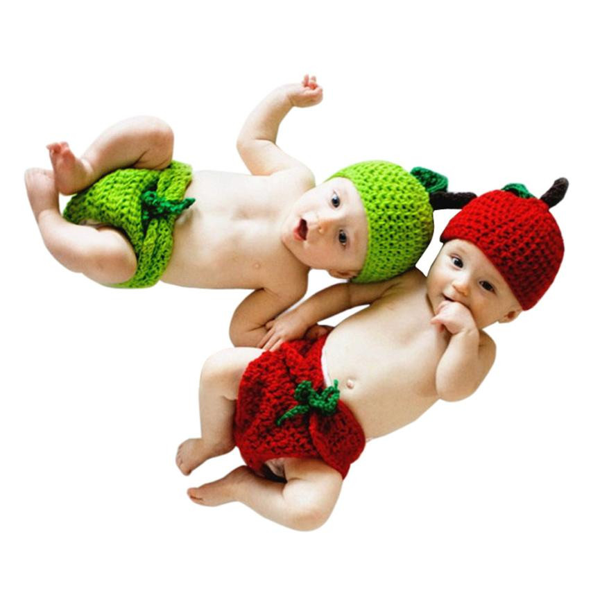 Baby Baby Girls Clothing Hat+ Pant Newborn Baby Apple Knit Crochet Clothes Costume Photo ...