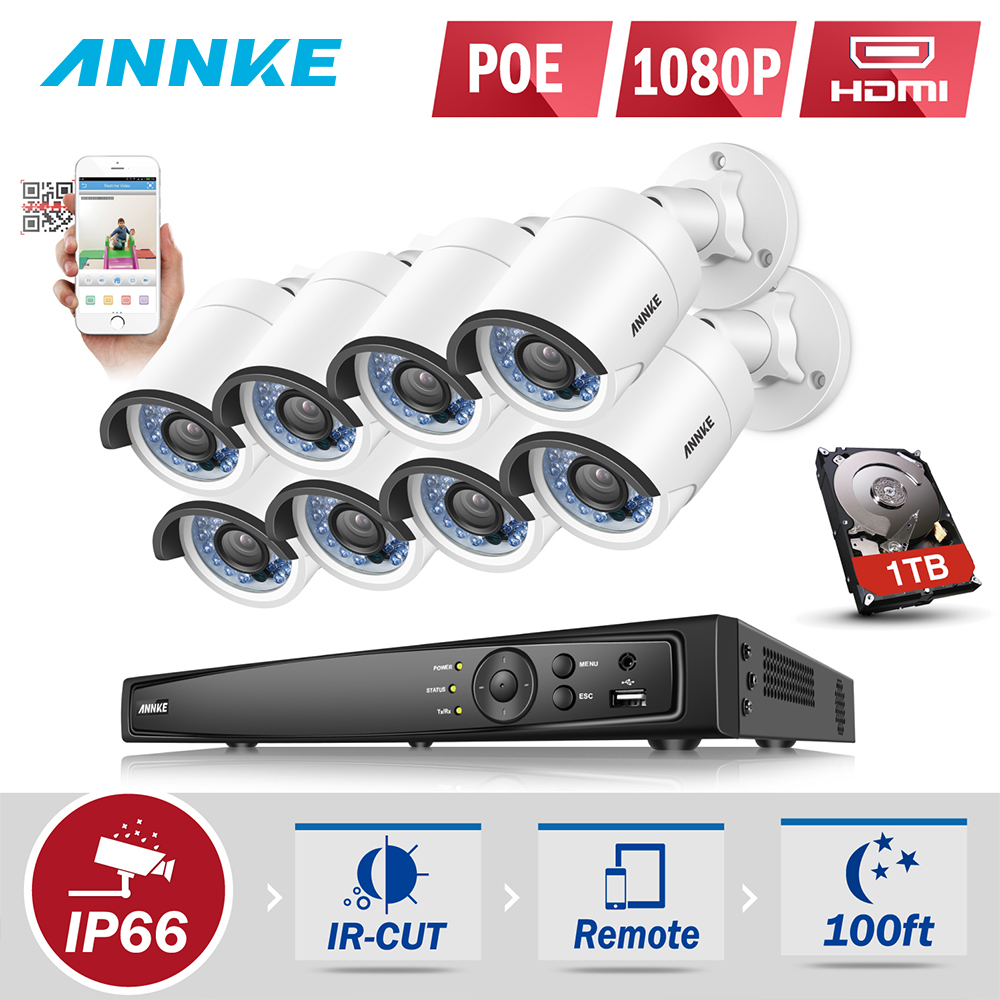 ANNKE 1080P POE Surveillance Camera System 8CH 6MP Security NVR With 8PCS 2MP CCTV Outdoor Weatherproof Camera H.264+ Onvif P2P