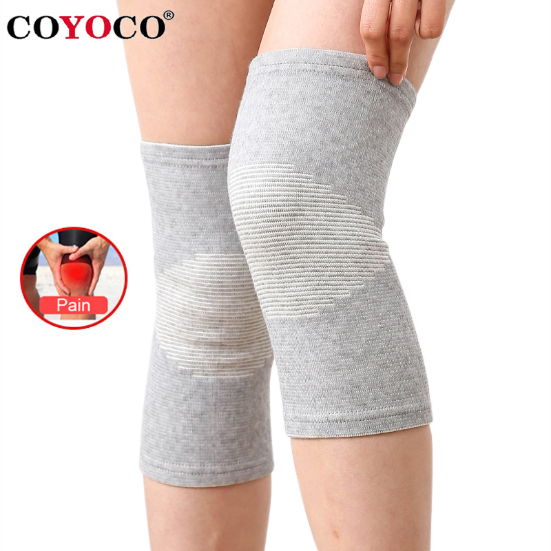 COYOCO Knee Support Protector 1 Pcs Leg Arthritis Injury Gym Sleeve Elasticated Bandage knee Pad Charcoal Knitted Kneepads Warm(China)