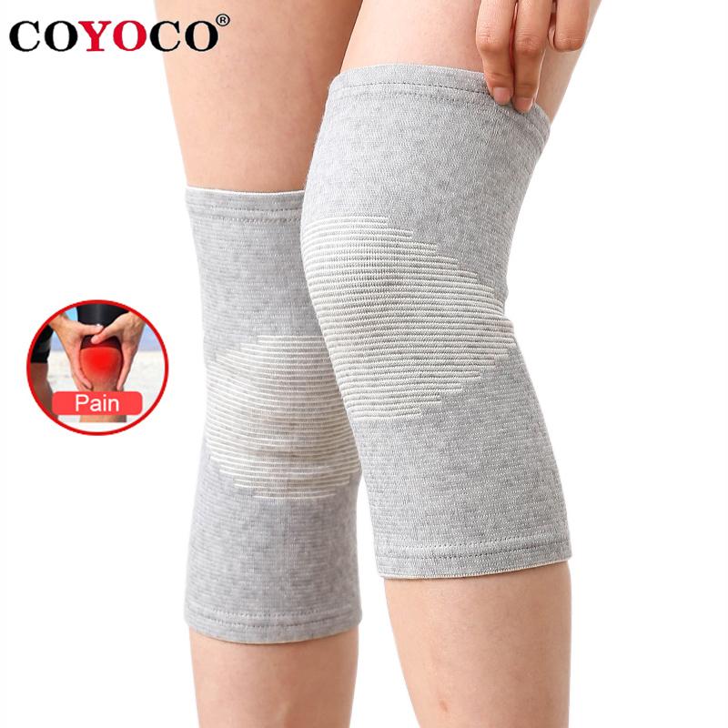 COYOCO Knee Support Protector 1 Pcs Leg Arthritis Injury Gym Sleeve Elasticated Bandage knee Pad Charcoal Knitted Kneepads Warm