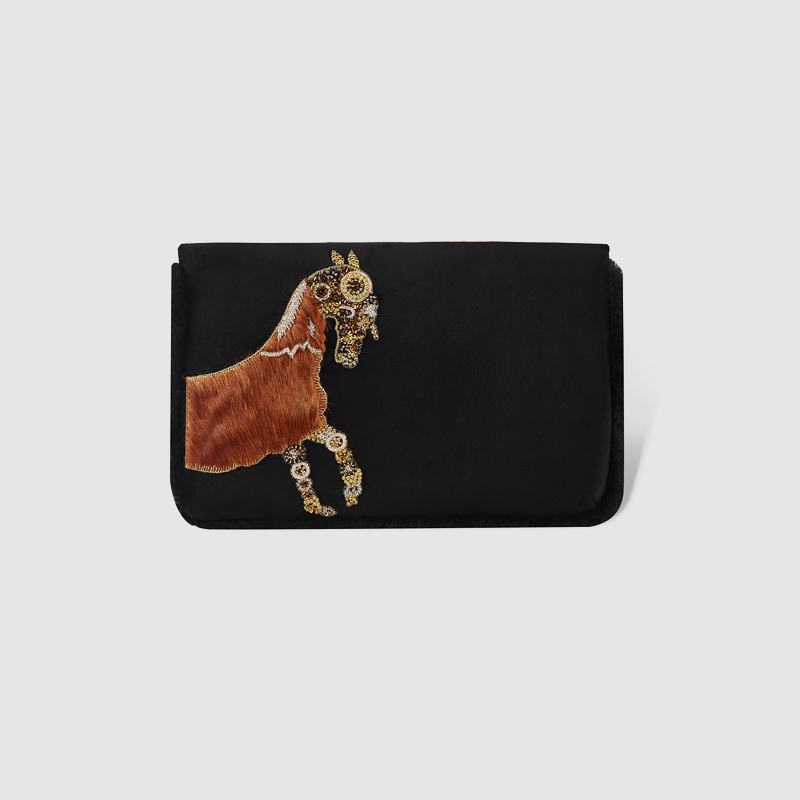 LOCAL FOCAL fashion horsehair handmade brown horse handbag local focal hand embroidered blue handbag