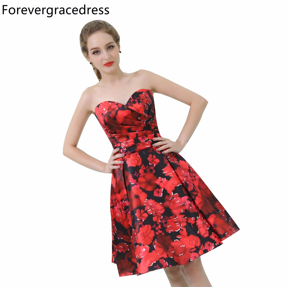 Forevergracedress Floral Print Cocktail Dress Sexy Sweetheart Sleeveless Short Homecoming Party Gown Plus Size