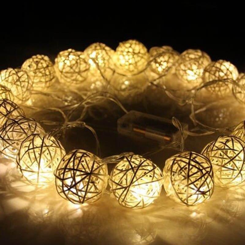 String Lights 20pcs New Year White Christmas Decoration Ornaments Wedding Party Hand Weaved Rattan Ball Lantern Xmas