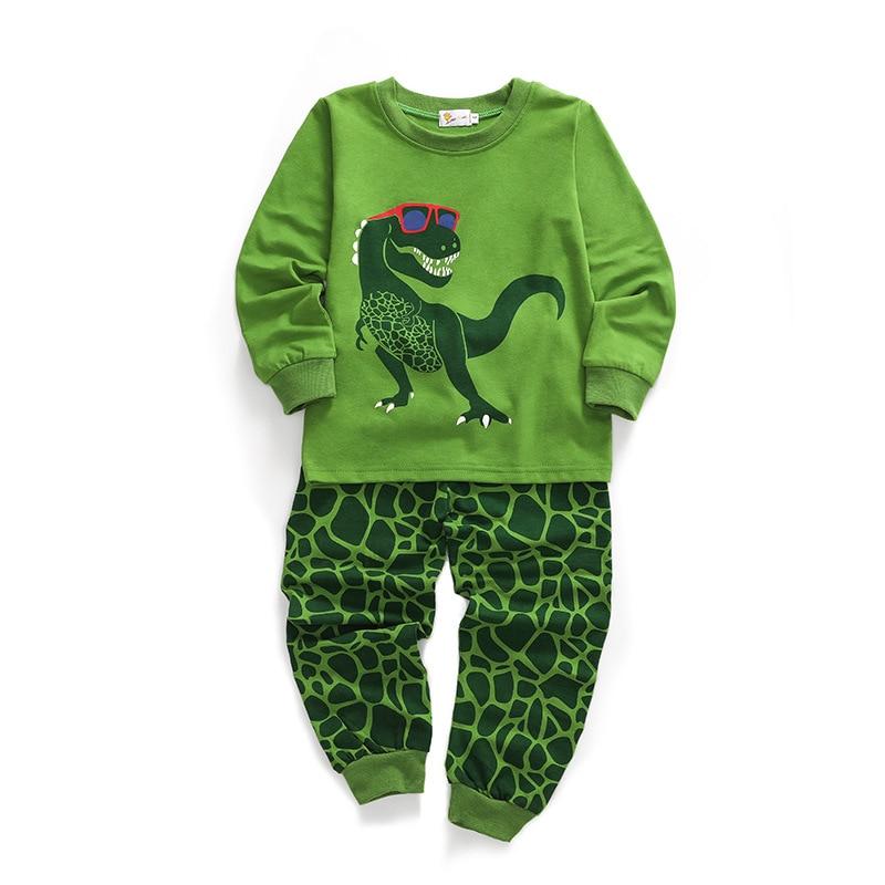 New children pajamas set cartoon dinosaur clothes baby boy casual fashion long sleeved home clothing Kids Jurassic world pyjamas in Pajama Sets from Mother Kids