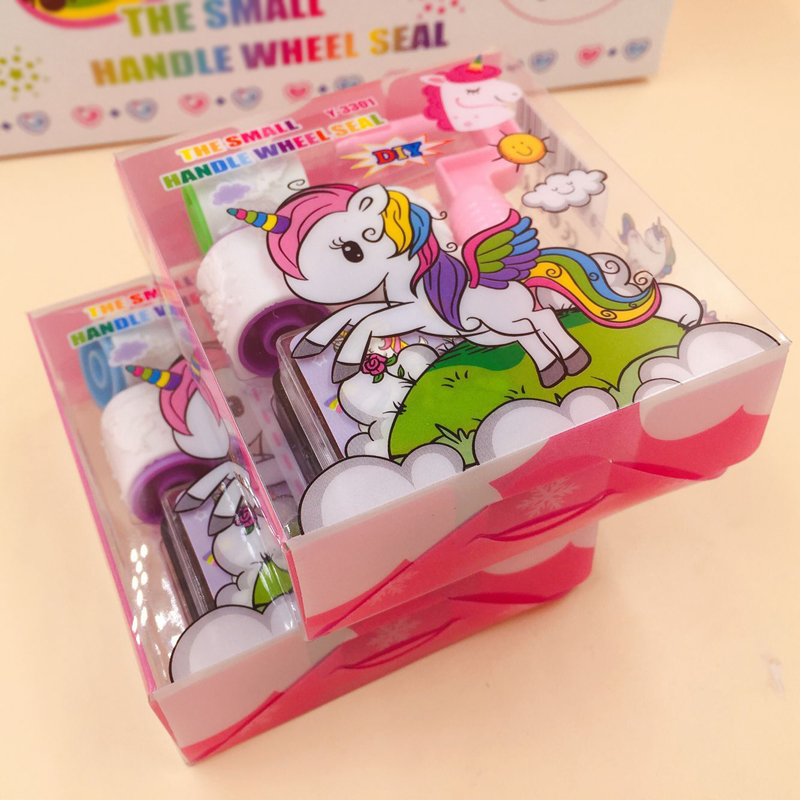 Cute Unicorn Handle Wheel Roller Stamp With Inkpad Diary DIY Stamp Stationery Set Kids Student Prize Promotional Gift School