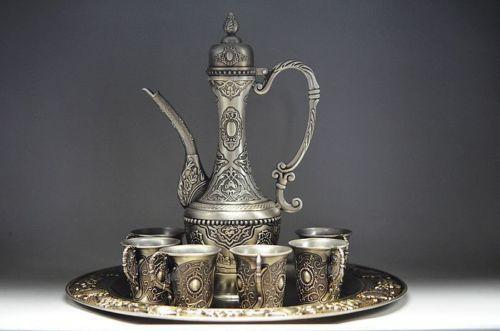 Design décorer chinois antique Tibet argent 1 théière et 6 tasse et plateau outils de décoration de mariage en laiton halloween