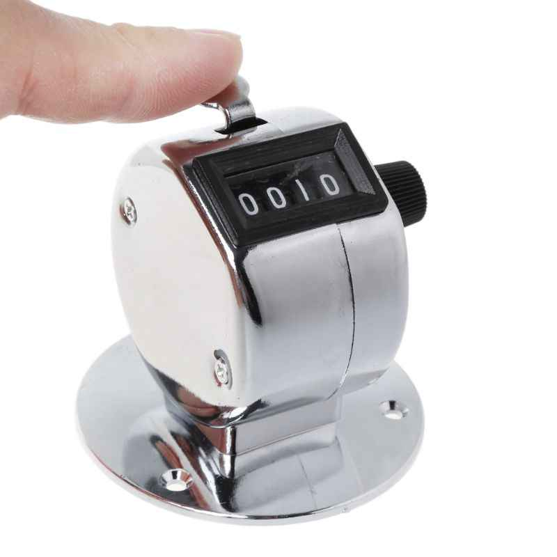 Round Base 4 Digit Manual Hand Tally Mechanical Palm Click Counter Golf Training