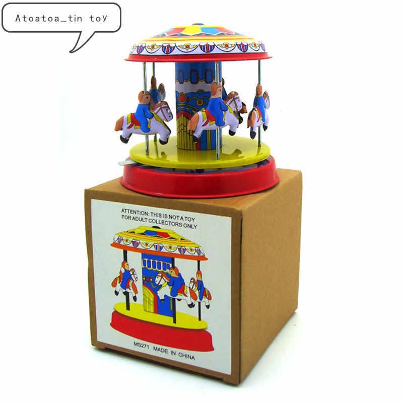Cổ điển Retro Merry-Go-Round đồ chơi Thiếc Cổ Điển Clockwork Gió Up Xoay bằng gỗ ngựa Tin Đồ Chơi Cho Trẻ Em Người Lớn Sưu Tập Quà Tặng