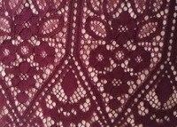 High Quality Wine Red Cord Eyelash Chantilly Scalloped Edge Bridal Dress Lace Fabric Size 150cm 150cm