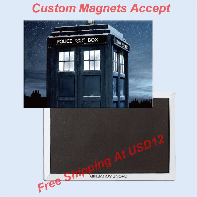 Decorative Fun Magnets 78*54*3mm Doctor Who Police Box Metal Wrapped Fridge Magnets 20207