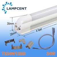 4/Pacote Tubo de LED Integrado T5 4FT 120 leds 24 W Lâmpada de Luz Linear Com Acessório