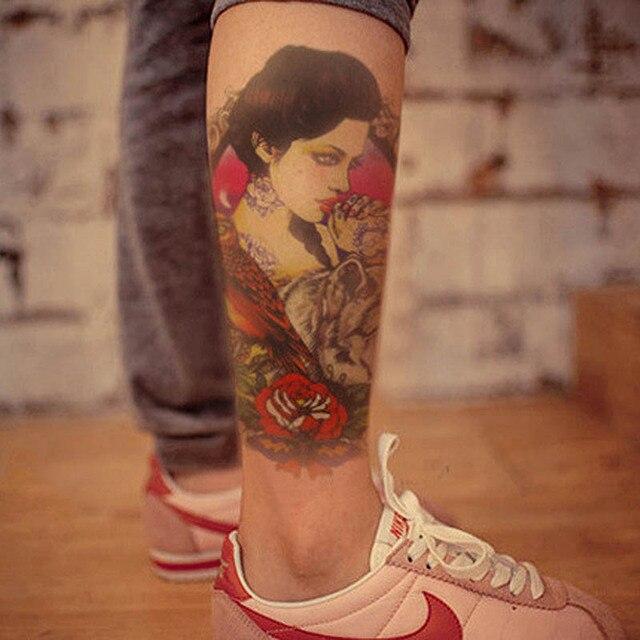 2015 wrist chest body tattoo 12cm skull color girl creative graphic