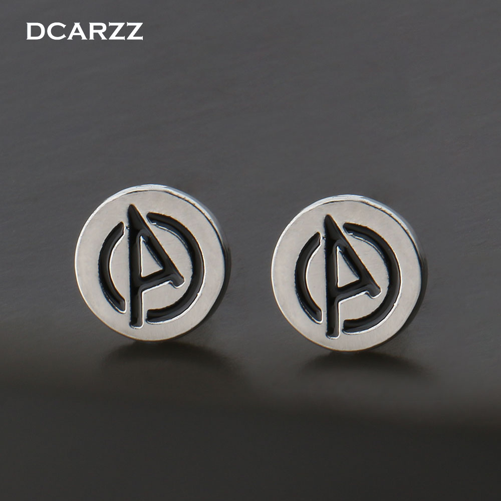 c77afdd6d Marvel the Avengers Logo Stud Earrings Super Hero Jewelry the Silver Color  Black Enamel Letter