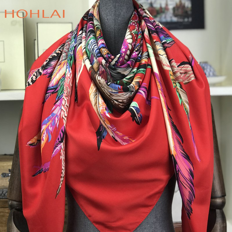 100% Twill Silk   Scarf   130x130cm Women Luxury Square   Scarves   &   Wraps   Female Neckerchief Large Bandana Indian Feather Silk Foulard