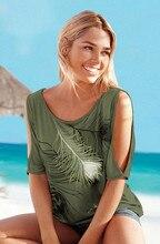 Summer Off Shoulder Loose Feather Print Blouse