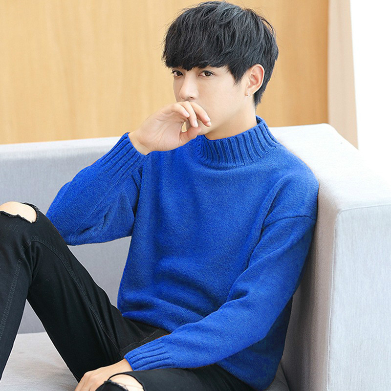 Boys Oversized Sweaters Korean Cute Long Sleeve Blue Sweater Male Plus Size Knitted Turtleneck Men Ribbed Top Pullover Knitwear