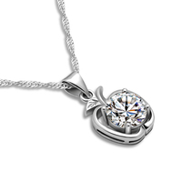 New Fashion Apple Pendant Necklace Women Solid 925 Silver Necklace Yao Zircon Pendant Sterling Silver Jewelry