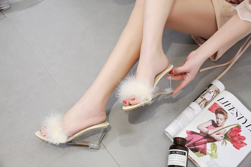 3 Color Female Slipper 35-40 Women Shoes Slides Ultra-high-heeled 8.5cm Feather Wedges Crystal Transparent Wedding Shoes 10