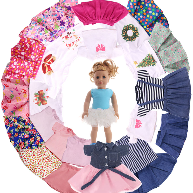 Free Shipping!4 Color Patterns 2 Pcs Set=T-shirt+Skirt Fit 18 Inch American&43 CM Baby Doll Clothes Accessories,Toys,Generation(China)