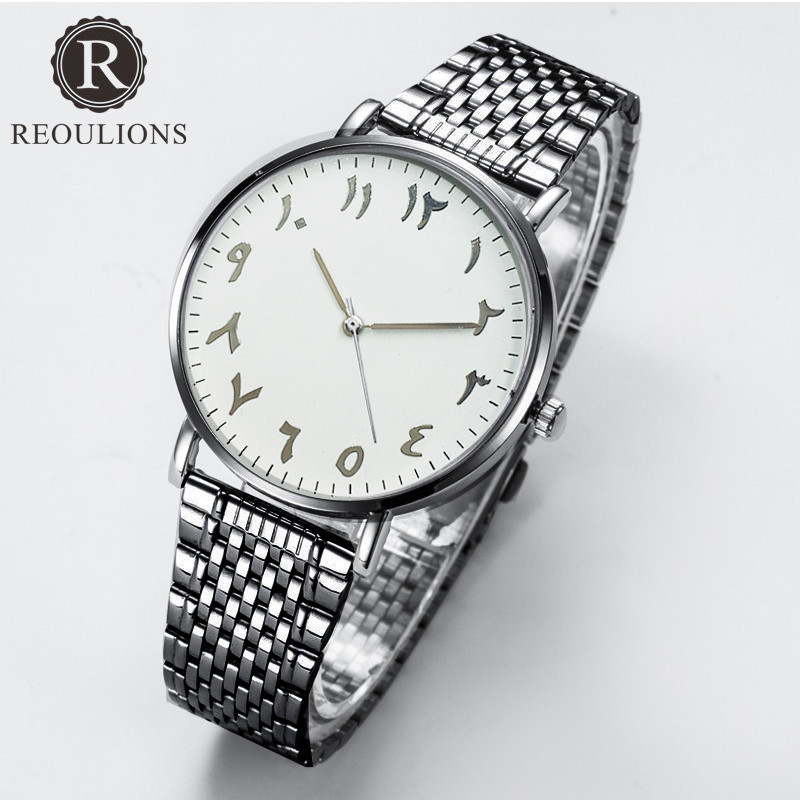 REOULIONS Top Luxury Brand Fashion Arabski Numbers Watch Stainless - Zegarki damskie - Zdjęcie 2