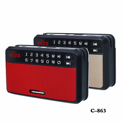 C-863 Mini Portable FM Radio Speaker TF USB Mp3 Player Speakers Can Use Two 18650 Battery With 3.5mm Headphone Out