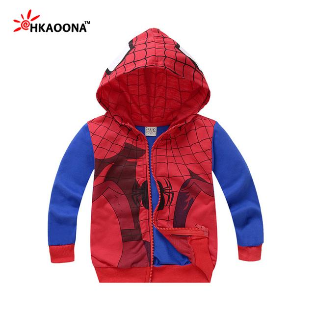 Patrón de Spiderman Niños y de la Muchacha Con Capucha de Los Niños de Dibujos Animados de Superhéroes Street Fashion Outfit Ropa Del Cabrito Regalo de Año Nuevo