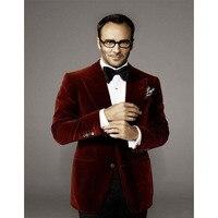 2020 Hot Sale Velvet Groomsmen Peak Lapel Groom Tuxedos men suit Wine red Jacket Formal Blazers 2 Pieces (Jacket+Pants+Bow Tie)