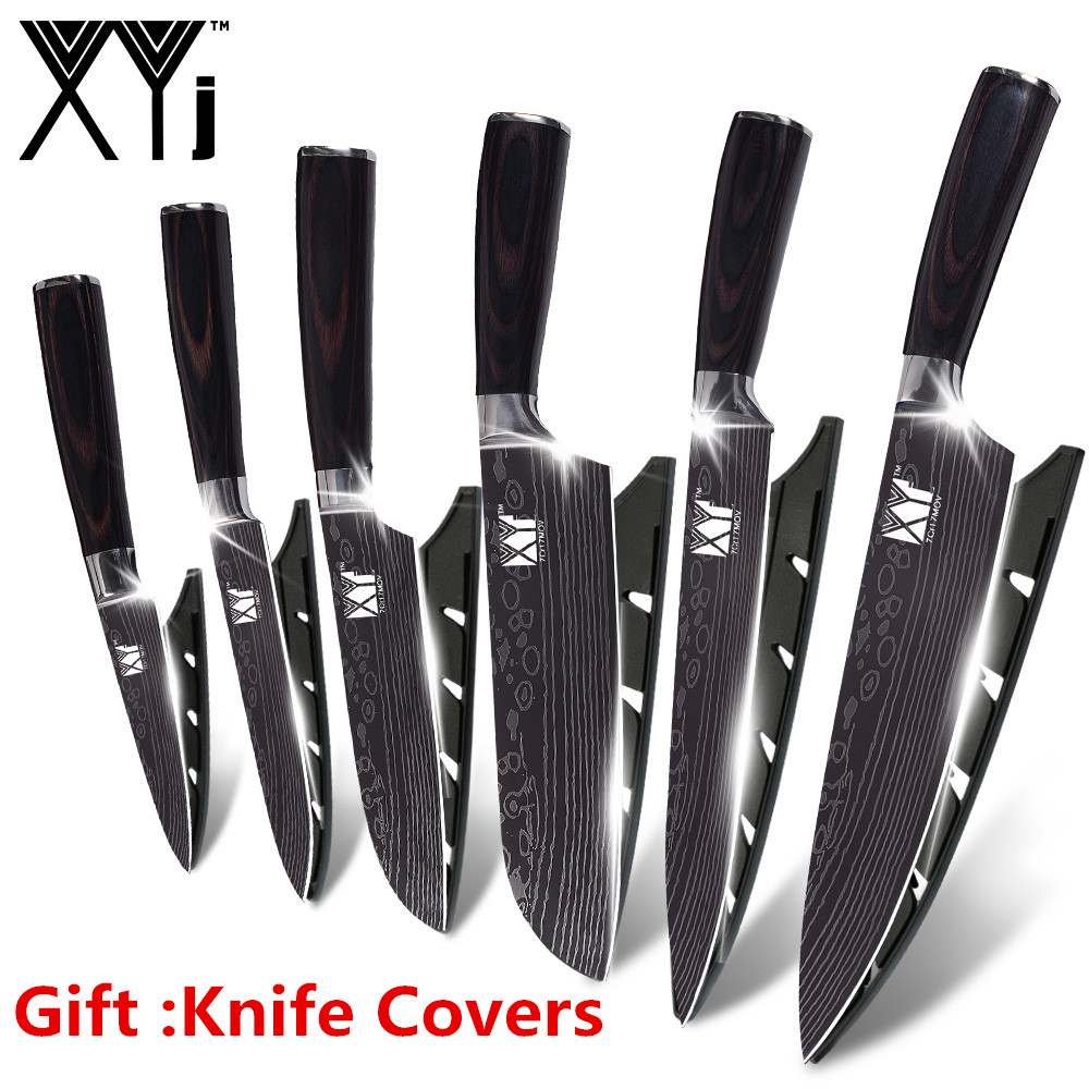 XYj 7Cr17 Stainless Steel Kitchen Knife Cutlery Cooking Kitchen Tools Damascus Veins Stainless Steel Knife Set