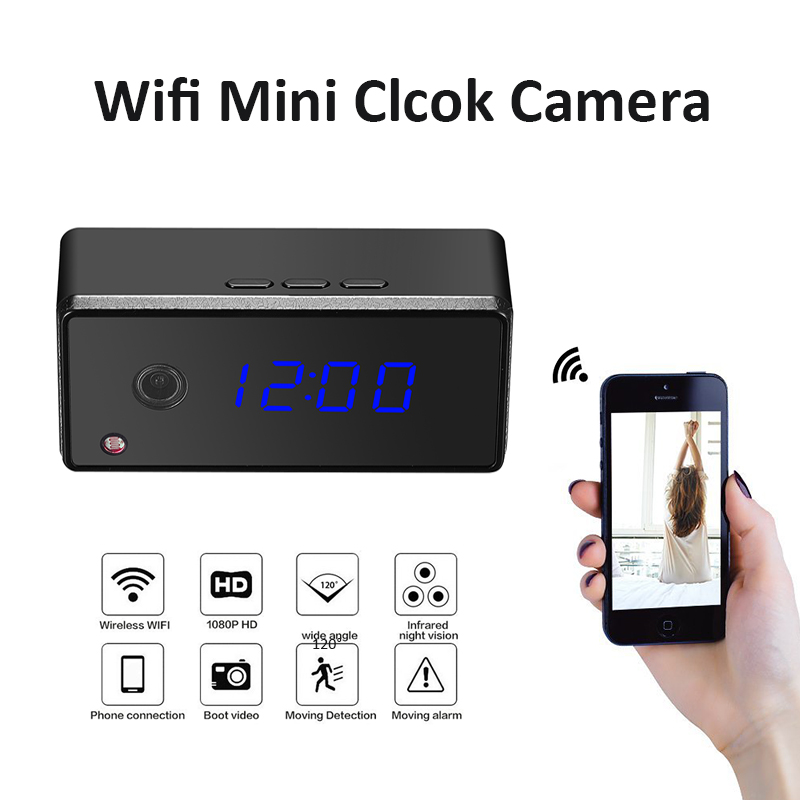 Wifi IP Mini Clock Camera 720P HD Night Vision Secret Camera Alarm Setting Table Clock Camera Wireless Home Security Cam Espion