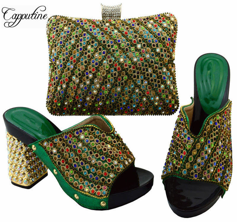 Capputine African Rhinestone Ladies Shoes AndBags Set Hot Selling High Heels Woman Green Shoes And Bags Set For Party YM005