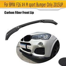 Estilo de Fibra de Carbono del coche Auto Delantal Coches Lip Splitter para BMW X4 F26 M deporte Parachoques Sólo 2014-2017