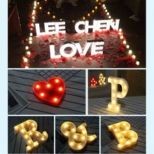 DIY Letter Symbol Sign Heart Lighting Plastic LED Lights Wedding Valentines Day Decoration Marriage Party Engagement