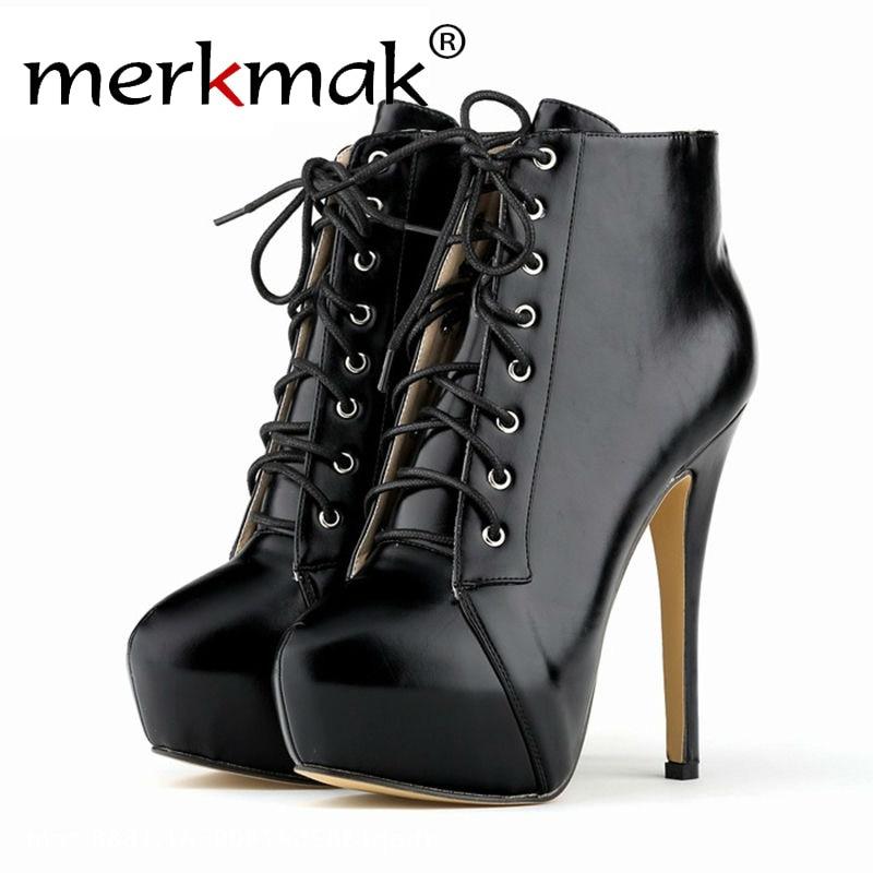 Merkmak 2016 Autumn Winter Stylish Women Boots Party High Heel 14cm Plus Size Bottes Femmes Lace