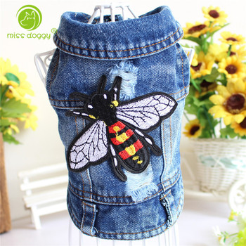 Embroidery Design Cat Dog Clothes Denim Pet Puppy Vest Cowboy Summer Jacket for Chihuahua Teddy Costume Bee Fly Dogs Coat embroidery