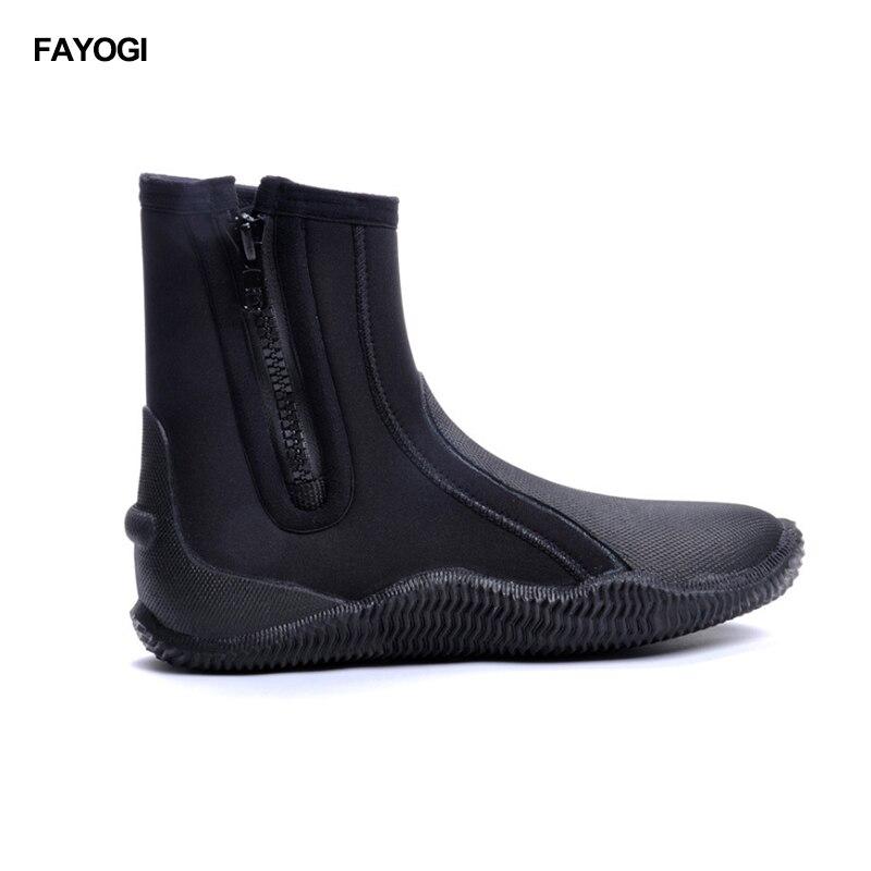 Chaussures de plongée en néoprène de 5 MM bottes de plongée antidérapantes hautes pour la plongée garder au chaud chaussures de natation pour la pêche accessoires de palmes de natation d'hiver