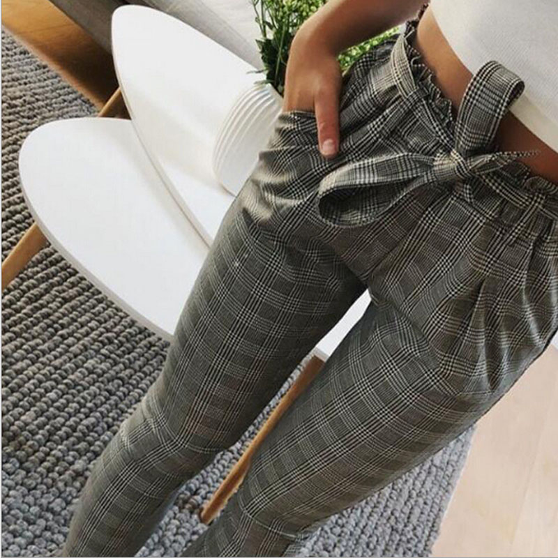 Casual Striped OL Pants Women Trouser High Waist Pant Pantalon Femme Bow Tie Pocket Pencil Pants Pantalones Mujer Cintura Alta