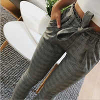 Casual listrado ol calças femininas calças de cintura alta pantalon femme gravata borboleta bolso lápis pantalones mujer cintura alta