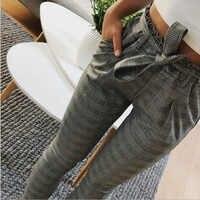 Pantalones OL a rayas informales para Mujer, Pantalones de Cintura Alta, pantalón femenino con lazo y bolsillo, Pantalones pitillo para Mujer, Cintura Alta